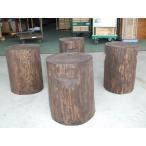 杉 防腐剤仕上げ 丸太椅子 取手付 丸太 いす スツール 直径約30〜35cm 高さ45cm 4脚セット