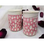 常滑焼  夫婦湯呑 憲児作 ピンク色水玉カット練り込み 和陶器