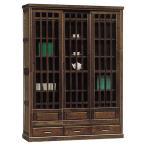 本棚 書棚 完成品 リビング収納 ガラス扉 幅132cm リビングボード 和風モダン