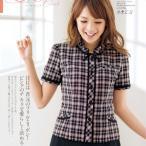 事務服 オーバーブラウス 26310-5(ピンク)春夏用 5号〜15号 en joie(アンジョア)