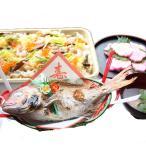 お食い初め料理セット、祝い膳ちらし寿司セット(天然鯛・蛤お吸い物用・ボイル済みタコ足1本・かまぼこ・ちらし寿司素・飾り・かご) 宅配