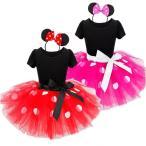 ミニーマウス ミニーちゃん 衣装 コスプレ ワンピース 子供 キッズ こども 子ども チュール 大ドット 赤 レッド ピンク 水玉 コスチューム 仮装 ハロウィン