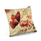 ヨーロッパ風おしゃれでアンティークな枕カバー 抱き枕用 リネン 綿麻製 45*45cm 赤い蝶 クッションカバー ピローケース