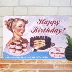 ブリキ看板 バースデーケーキ 1 誕生日 プレゼント スイーツ ポスター