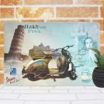 ブリキ看板 ベスパ ピサの斜塔/// 金属製インテリア雑貨 イタリア  1000種類