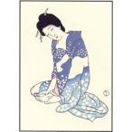 復刻 木版画「爪をきる女」