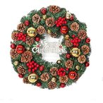 クリスマスリース ナチュラル かわいい 壁掛け ボール付き クリスマス オーナメント アートフラワー 豊作 松ぼっくり付き 玄関リース (30cm)