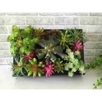 【送料無料】多肉植物アレンジメント壁掛け 中 フェイクグリーン アートグリーン 造花 グリーンアート 多肉植物 インテリア