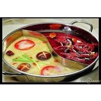 二食鍋 仕切り鍋 二色鍋 サイズ:約 30cm(取ってを含まない) 2種類の鍋を同時に調理可能 ステンレス製鍋