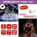 LEDイルミネーションライト  USB式 銅線ワイヤーライト 10m  LED100 球 LEDストリングライト 結婚式 パーティー クリスマス 防水防雨仕様  送料無料