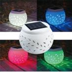ソーラーライト ガーデンライト カラーライト 陶器 多彩 赤 緑 青 白 夜間自動点灯 LEDライト 屋外 室外  防水