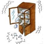 耐震ラッチ ママラッチ 4個入 木製開扉食器家具用