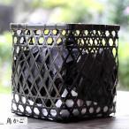 【国産・日本製】竹炭ダイヤ籠(竹炭バラ2kg入り)インテリアにも最適!お洒落な黒編み竹籠に消臭、調湿用竹炭たっぷり2kg入り