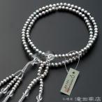 数珠 日蓮宗 女性用 淡水パール(グレーカラー) 本水晶仕立 8寸 宗派別念珠