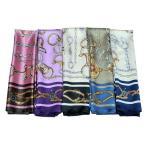 華麗な高級シルク調 花柄90角正方形大判スカーフ (全30色)
