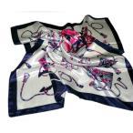 華麗な上品シルク調スカーフ 90角正方形大判レディース スカーフ 贈り物 ギフト人気な花柄 春夏秋冬、年中に使える スカーフ(I1〜5)