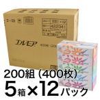 【本州送料無料】ティッシュペーパー エルモア 200組400枚 5箱×12パック