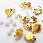 イヤリングパーツ 蝶バネ 丸皿 ゴールド 10個 シリコンパッド付