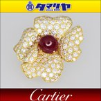 Cartier カルティエ パエヴァ ダイヤ ルビー ブローチ 750 K18 YG イエローゴールド フラワー 27921211
