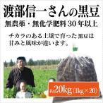 北海道産 無農薬黒豆「渡部信一さんの黒豆(約1kg×20袋)」 無農薬・無化学肥料栽培30年の美味しい黒豆 渡部信一さんは化学薬品とは無縁の生産者