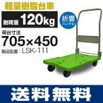 【耐荷重120kg】手押し台車 LSK-111 (705mm×450mm/100φ車輪) ナンシン 樹脂運搬車 【送料無料/代引不可】