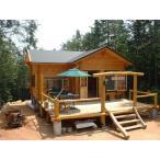 ●ルースC(ログ厚75mm)水廻りが付いて別荘、コテージに最適の8坪タイプのミニログハウスキット