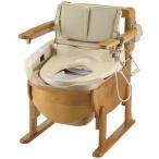 介護用品 木製トイレ きらく洗優 肘掛跳ね上げ 18501