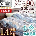 羽毛布団 セミダブル 掛け布団 羽毛掛け布団 日本製 シルバーグースダウン90% 増量1.4kg 7年保証 350dp以上 羽毛 CILシルバーラベル 羽毛ふとん