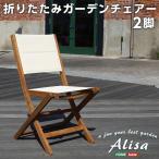 ホームテイスト SH-01-ALS-GR-BR-LF2 人気の折りたたみガーデンチェア(2脚セット)アカシア材を使用 Alisa-アリーザ- (ブラウン)