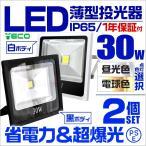 LED投光器 30W 薄型 LEDライト  作業灯 防犯 ワークライト 看板照明 昼光色 電球色 2個セット