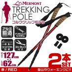 ショッピング登山 トレッキングポール 2本セット I型 女性用 ステッキ ストック 登山用杖 赤/レッド (予約販売/6月下旬再入荷)