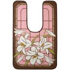 おしゃれ かわいい 華やかユリ柄 ワイドロングトイレマット カサブランカ ピンク 120×75cm JA-468