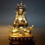 【仏像】持金剛 鍍金・彫金仕上げ・金泥彩色 小さな仏像 10cm【送料無料】