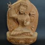 【仏像】文殊菩薩(妙吉祥菩薩)木彫り 仏像 28cm【送料無料】