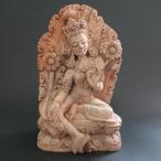 【仏像】緑多羅菩薩(グリーンターラ) 木彫り 仏像18cm【送料無料】