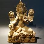 【仏像】緑多羅菩薩(グリーンターラ) 木彫り 仏像20cm【送料無料】