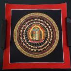 【仏画(タンカ)】カーラチャクラ種字曼荼羅 黒 仏像 仏画
