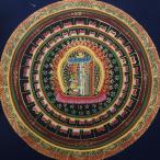 【仏画(タンカ)】カーラチャクラ種字曼荼羅 紺 仏像 仏画