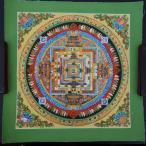 【仏画(タンカ)】カーラチャクラ曼荼羅 緑 仏像 仏画