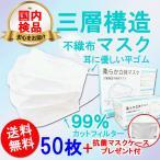 不織布 マスク 50枚 マスクケース プレゼント 耳が痛くならない 平ゴム 3層構造 送料無料 箱 男女兼用 ウイルス 花粉症対策 不織布 大人用