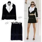 シャネル スーツ ジャケット CHANEL スカート ブラック ホワイト 冠婚葬祭 F38