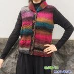 野呂英作の毛糸・くれよんで編むカウチン風のベスト 手編みキット 人気キット 編みものキット 無料編み図