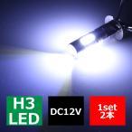 フォグランプ H3 プロジェクタ搭載 7.5W LED バルブ ホワイト 2個  HZ007