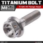 64チタンボルト M8×30mm P1.25 ホールヘッド 六角ボルト フランジ付 シルバー 原色 1個 JA139