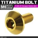 64チタンボルト M6×15mm P1.0 頭部径14mm テーパーヘッド 六角穴 ボタンボルト ゴールドカラー 金色 1個 JA618