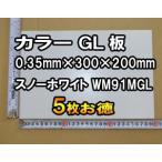 鉄 ガルバリウム 鋼板(カラーGL)0.35mm厚 300x200mm 5枚お得 (WM91MGL スノーホワイト)(クロネコDM便・送料込み・代引き不可・日時指定不可)