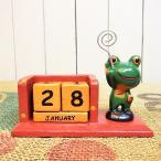 カエルカレンダー置物メモホルダーオブジェアジアン雑貨カエルの万年カレンダー