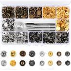 Vanble レザークラフト 工具 4種類 & ホック 4色 詰め合わせ ケース付 カシメセット 12mm ホック打ち工具 パーツ (120組)