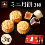 お菓子 ミニ月餅 3個入 3箱セット ハス 黒ゴマ ココナッツ 個包装 メール便 キャッシュレス還元