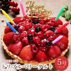 クリスマスケーキ 2020 予約 誕生日ケーキ プレゼント ギフト バースデーケーキ タルト ベリー 苺 フルーツ / トリプルベリータルト 5号 4-6人用